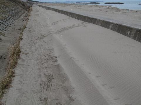 加賀海浜自転車道の砂地帯(能美市)